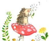 Childrens Art -- Wishing Hedgehog -- Art Print
