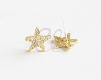 2pcs (One Pair) Premium Gold Plated Brass Base Earring Post With Sterling Silver Pin - Star with Rhinestone - 12.7x11.6mm17mm (1913C-F-522)