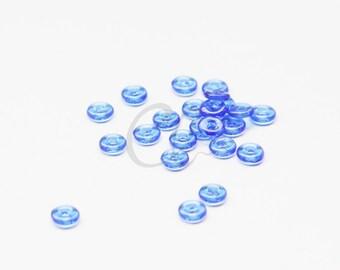 100pcs Czech Pressed Glass O Beads - Rings - Sapphire 4x1mm (8243007)
