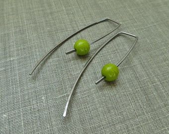 Niobium Dangle Hook Earrings - Avocado Green Glass Beads - Hypoallergenic - Simple Modern Minimal Beaded Wire Jewelry