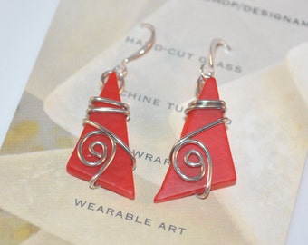 Maine Made Earrings-Cut Glass and Wire Wrap Earrings-red glass jewelry-wearable art-tumbled glass wire jewelry