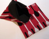 Lined Sandwich Bag--Utensils on Red--black lining