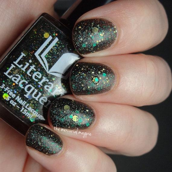 Matte Black Glitter Nail Polish: Avada Kedavra Black Matte Glitter Nail Polish