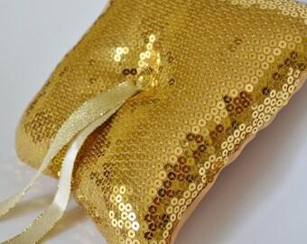 Gold Sequins Fabric Ring Bearer Pillow