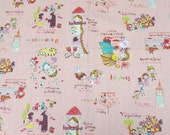Japanese cotton linen Fairy tales print Alice In Wonderland Peter Pan Rapunzel Snow White Little red Riding Hood  Half meter (HAKO21A)