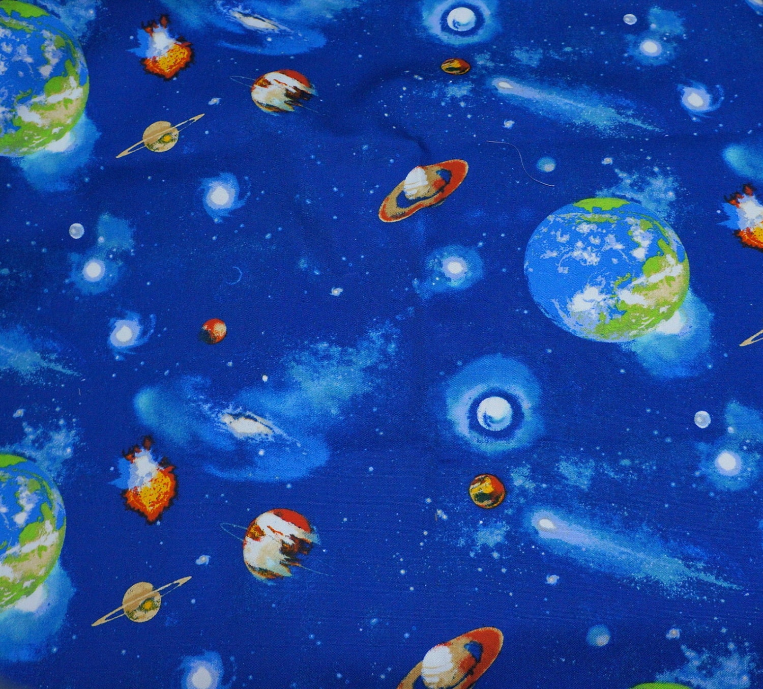 Astronomy theme planet fabric half meter nc51 from for Planet print fabric