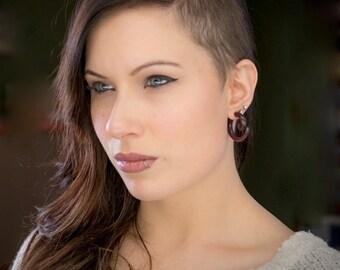 Wood Earrings,Fake Gauges Earrings,tribal style,Tribal Expander Split,organic fake piercings size M