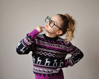 1970s Diamond Reindeer Sweater~Kids Size 10/12/14