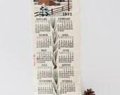 Linen Calendar Wall Hanging 1972 Winter Scene Hand sewn Detail Chickadee
