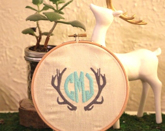 Antlers / Three initial Monogram / 6 inch hoop embroidery art