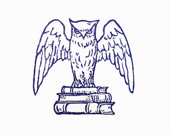 Library Owl - Hand Carved Rubber Stamp