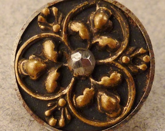 BRASS BUTTON  Metal Victorian Steel accents flower round  Vintage   9/16 inch diam