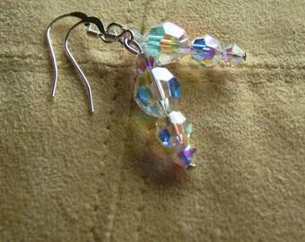 Austrian Crystal Aurora Borealis Earrings Elegant Swarovski Crystal and Sterling Silver Earrings