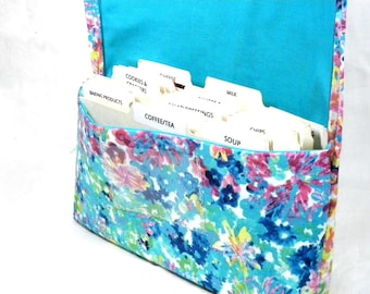 Coupon Organizer - Coupon Holder - Coupon Bag - Coupon Binder - Purse Organizer - Receipt Holder - Watercolor Floral Fabric