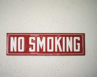 Vintage No Smoking Sign | Gas Station Memorabilia | White and Red |Stamped Steel |Lansing B. Warner | Signage