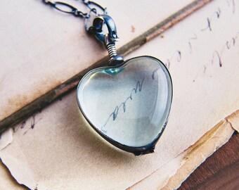 Locket Necklace, Heart Locket, Photo Locket, Glass Locket, Sterling Sliver, Memory Locket, Perfect Gift, Sterling Silver