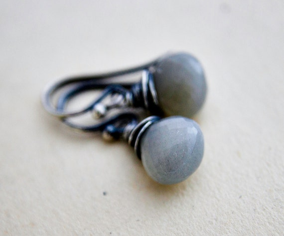 Moonstone Jewelry Silver Drop Earrings Gray Galaxy Celestial Weather PoleStar