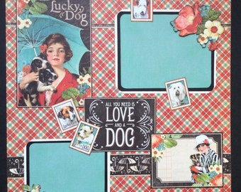 Dog Lover's 12x12 Graphic 45 Scrapbook Layout page, Raining Cat's and Dogs single Scrapbook Layout, New Puppy page, Premade scrapbook page