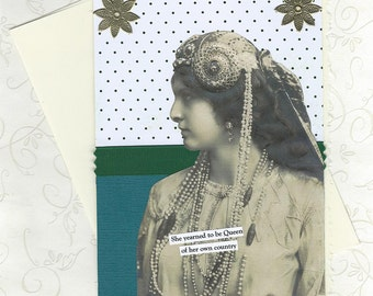 Funny Collage Art Card for Royal Wannabe People Vintage Style - I Wish I Was in Charge