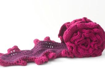 Ruffle Scarf Crochet Pattern, Digital Download, Crocheted Scarf Pattern