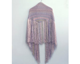 Fringe Shawl Knitting Pattern, Bridal Shawl Pattern, Instant Download, Easy Knit Shawl PDF Pattern, Triangle Boho Shawl,  Knit Wrap Pattern