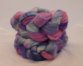 Roving, BFL X Silk 85/15 Roving, Hand Painted Blufaced Leicester and Silk Roving #584