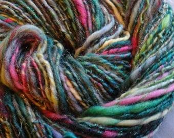I Dream of Flowers handspun sport weight merino yarn with sparkles, 95 yards
