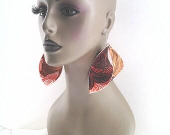 Beautiful Multiple Colors Flower Print Vinyl Fabric Earrings, Women Earrings, Fashion Vinyl Fabric Earring, Large Earrings, Big Earrings.