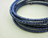 Blue Gunmetal Glass Beaded Adjustable Memory Wire Wrap Bracelet: Circuit MADE to ORDER
