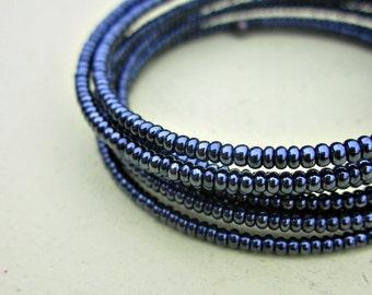 Blue Gunmetal Glass Beaded Adjustable Memory Wire Wrap Bracelet: Circuit