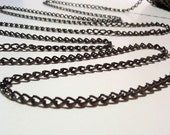 5 Ft Small Black Twist Chain,  Jewelry making & Craft supply, 5 mm X 3 mm X 0.8 mm thick