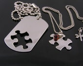 Couple Necklaces with Dog Tag and Puzzle Piece, Dog Tag Partner Necklace with Puzzle Charm, Boyfriend Girlfriend Jewelry, Him and Her