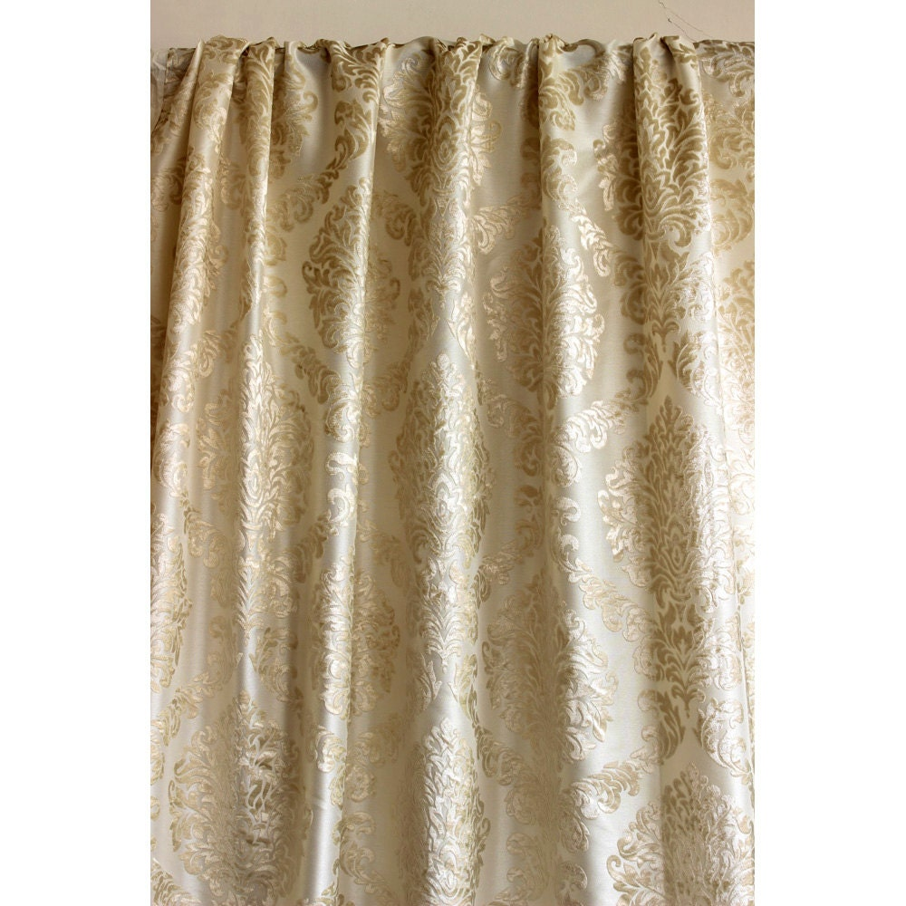 Light Gold N Ivory Damask Burnout Velvet Curtain