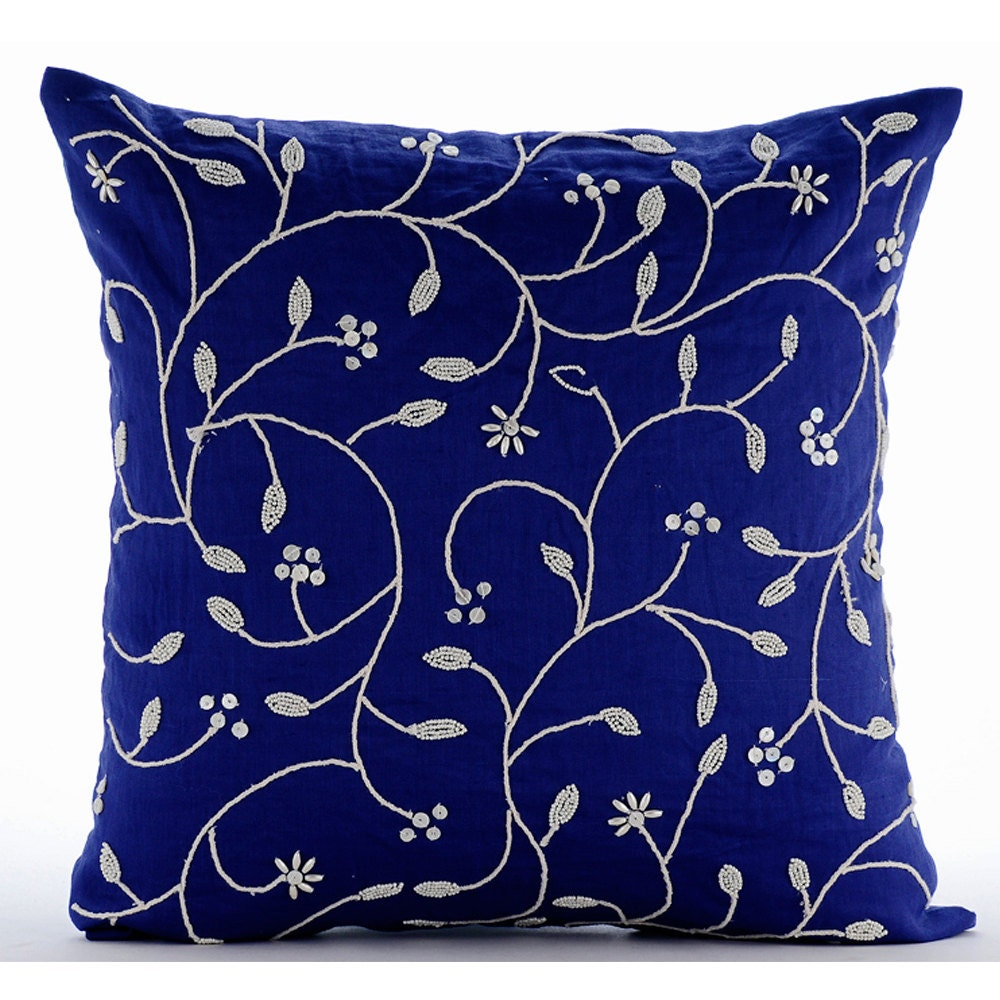 Blue Beaded Throw Pillow : Royal Blue Throw Pillows Cover For Couch Square Beaded