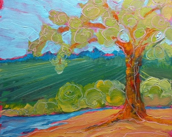 Park Tree 17. Original abstract landscape oil painting