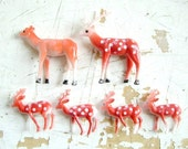 Snow Globe Deer, and Diorama Art- Plastic Deer, A Family of Six, Woodland Creatures