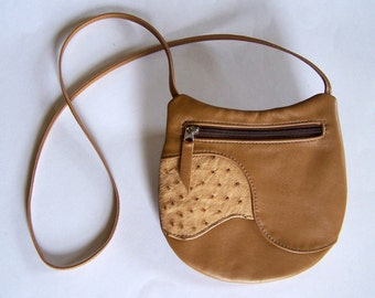 Brown Leather Purse with Ostrich Leather Inlay - Crossbody Style - Medium Round Handbag