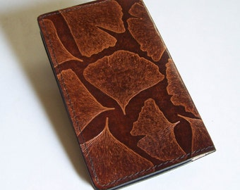 Leather Checkbook Cover with Ginkgo Leaf Design - Leather Checkbook Holder