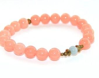 Mala Bracelet, Gentleness and Love - Pink Jade & BLue Angelite Gemstone Beads