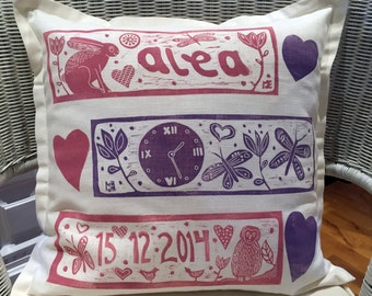 personalized cushion cover, your baby name, decorative pillow, christening, pillow cover, baby boy, light blue, nursery interior, new mom