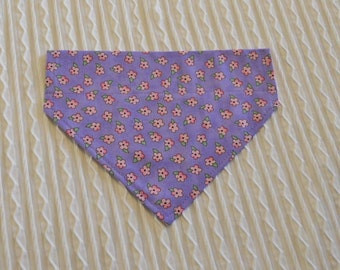 Lavender Dog Bandana with Pink Flowers Sizes XS to XL in Over the Collar Style