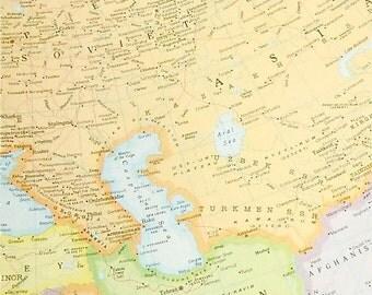 SOVIET UNION ASIA 1960s retro map paper ephemera . wall decor . vintage book page