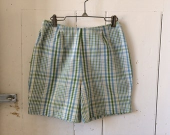 1960s Cotton Plaid Shorts High Waisted Mad Men Esque Blue and Green Size 12