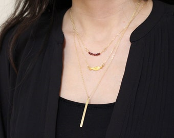 Personalized Vertical Gold Bar Long Necklace - Simple Customized Bar Necklace - Long Necklace with Initial Bar - Name Bar