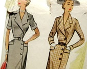 1950s Vintage Sewing Pattern - Sophisticated Wrap Style Coat Dress with Pockets - McCall's 8609 / Size 14