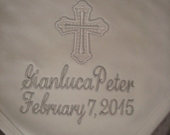 Peter Personalized Christening Baptism blanket - Choice of name or up to 3 initials