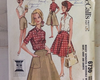 Vintage 1960s McCalls 6730 pattern...size 16...skirt, shorts, shirt / womans 60s pattern