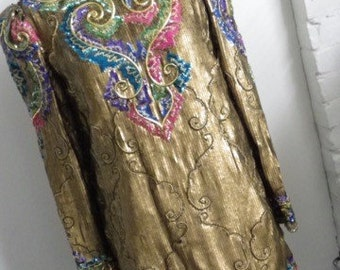 Richilene Saks Gold Sequin Dress