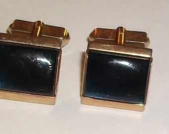 Vintage SWANK BLUE Glass Cufflinks