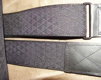 Diamond Pattern Black Embroidered Trim GUITAR STRAP,Adjustable